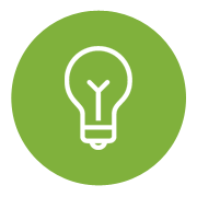 Icon of a Light Bulb on a green background