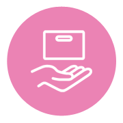 Icon of a hand and license on a fuschia background