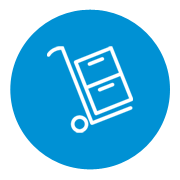 Icon of a boxes and cart on a blue background