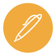 Icon of a Pen on a gold background